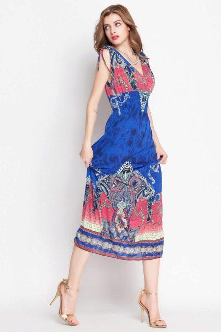 Flerfarget kjole med høy midje