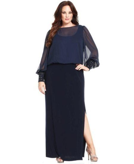 Vestit d'oficina en terra combinat amb vestit de gasa i de punt amb màniga llarga per a dones obeses