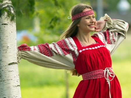Russian modern dress in ethnic style