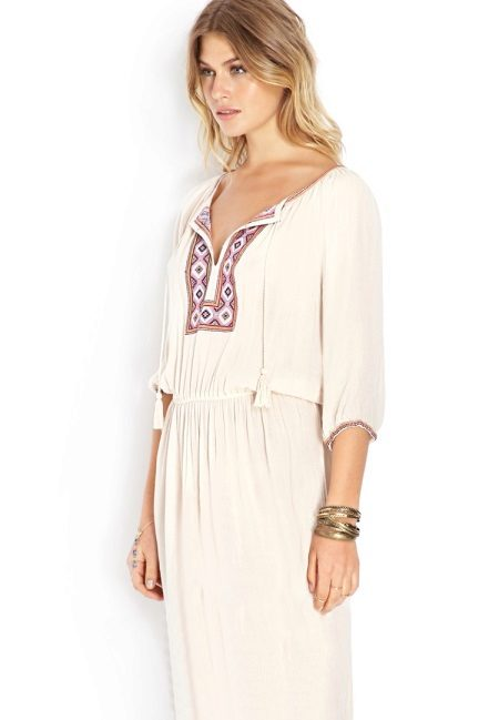White Russian dress in ethnic style