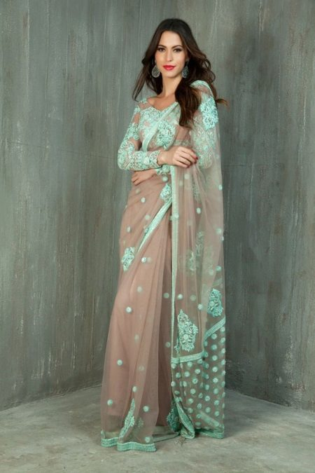 European green at beige saree