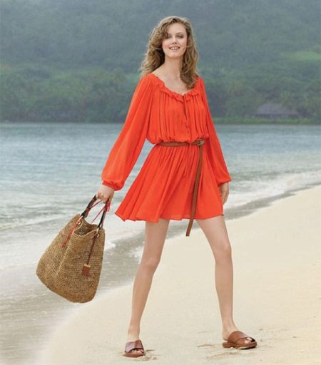 Sommarstrand orange klänning