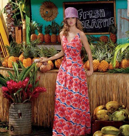 Cor vestido de verão para o chão