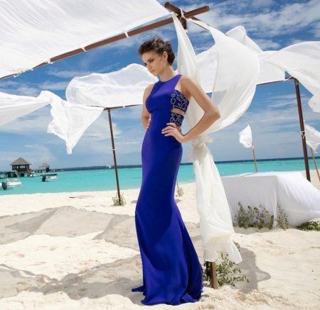 Vestido de verão azul para o chão