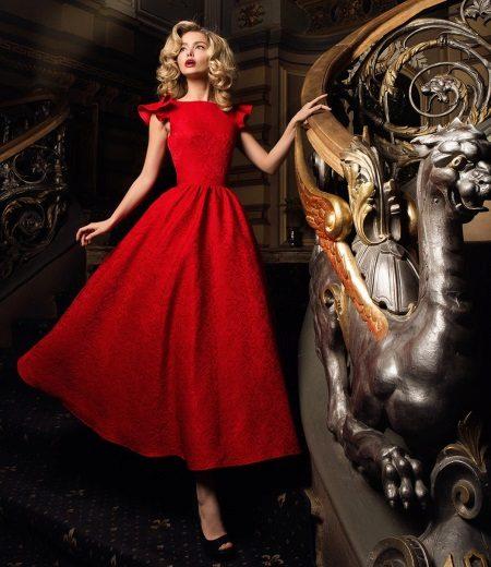 Есенна рокля червена