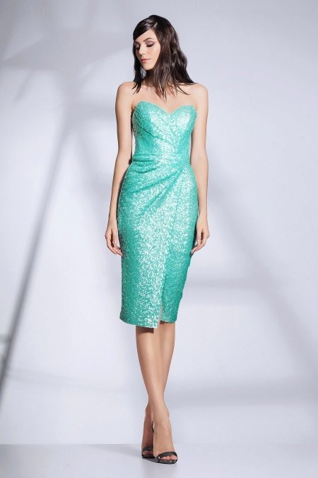 Turquoise drape dress strapless