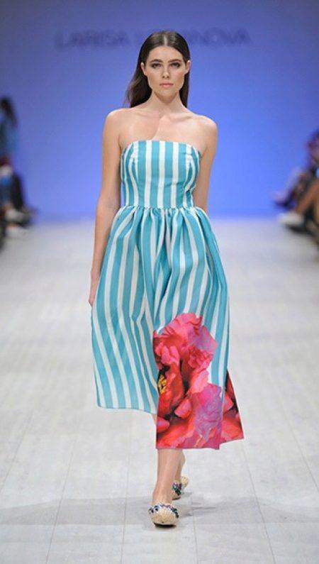 Midi Sea Strapless Dress