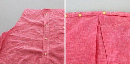 Vestidos de costura de uma camisa