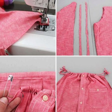 conexão de detalhes de vestido de uma camisa