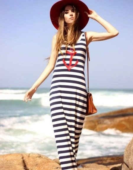 Long Striped Navy Style T-shirt Klänning