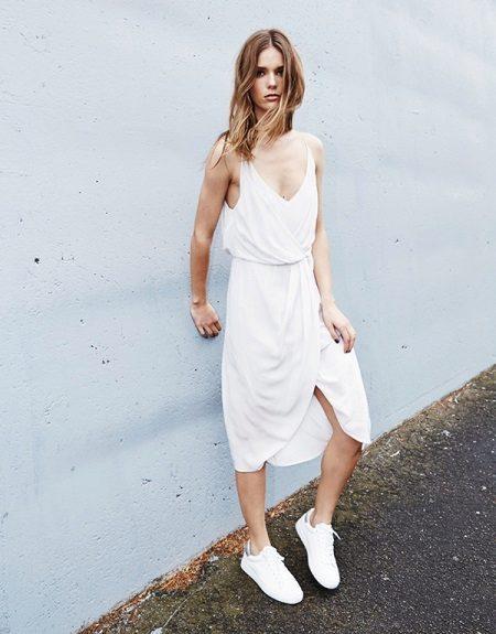 Hvit kjole-skjorte medium lengde