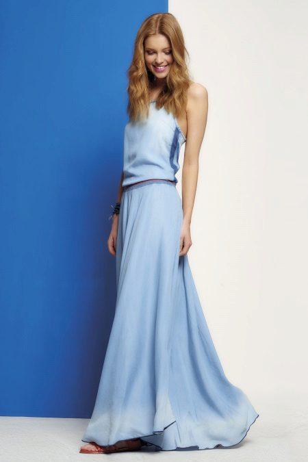 Vestido azul crepe de chine