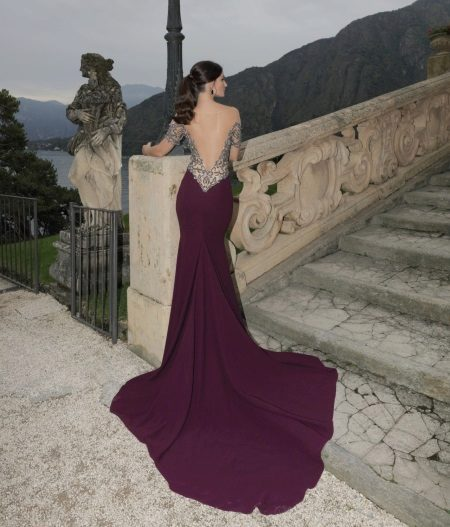 Violet dress with open back