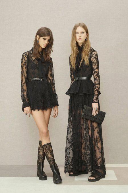 Botas para o vestido de renda preta