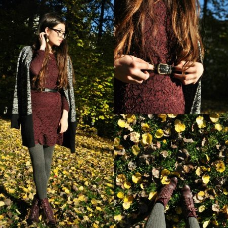 Gray tights to brown dress