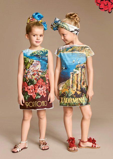 Vestido de verão para meninas com estampa