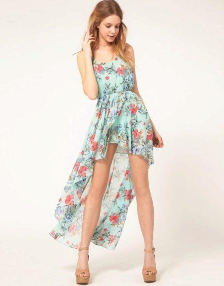 Vestido de verão para meninas 12-14 anos de alta-baixa