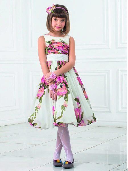Vestido fofo de verão para meninas de 5 a 8 anos