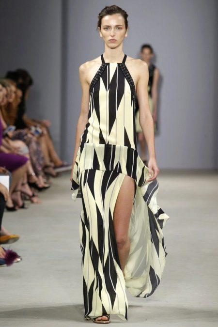 Fashionable silk long dress of spring-summer 2016 season