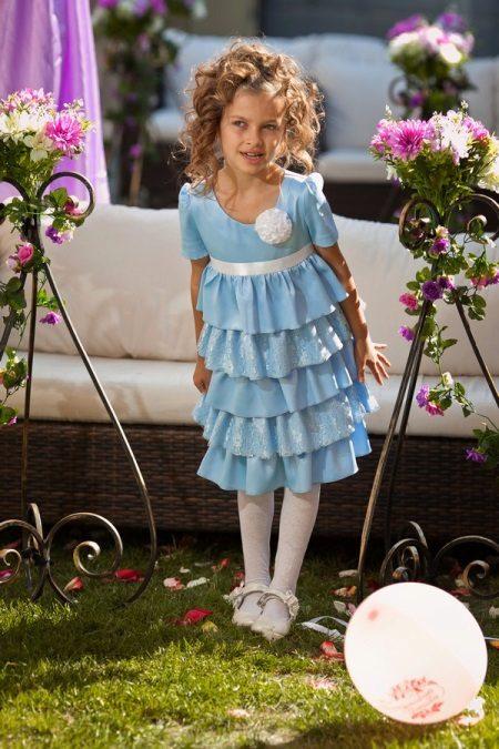 Vestido elegante para a menina de várias camadas