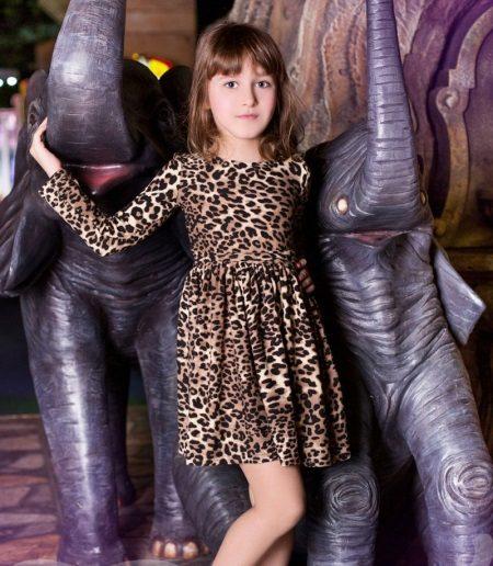Vestido elegante para meninas com estampa de leopardo