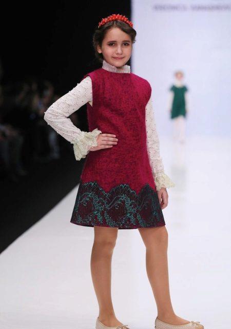 Vestido de inverno sem manga para a menina de 10-12 anos