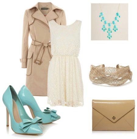 Parlak beyaz dantel elbise ayakkabı