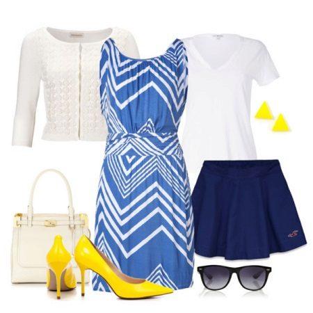 Beyaz-mavi elbiseye sarı ayakkabı