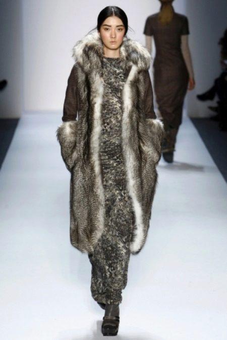 Sheepskin coat to a long winter dress