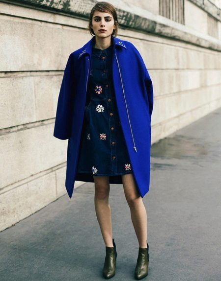 Coat to denim shirt dress