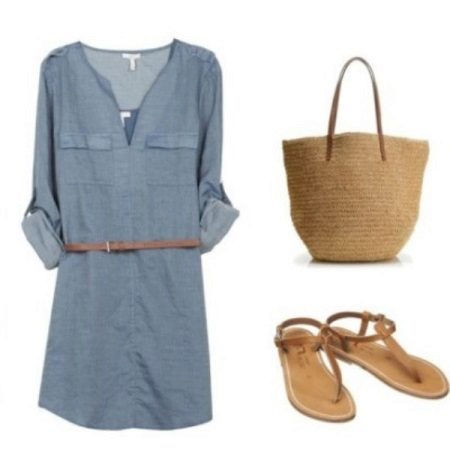 Woven bag for summer shirt dress