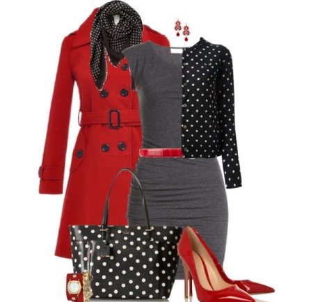 Red accessories to gray dress