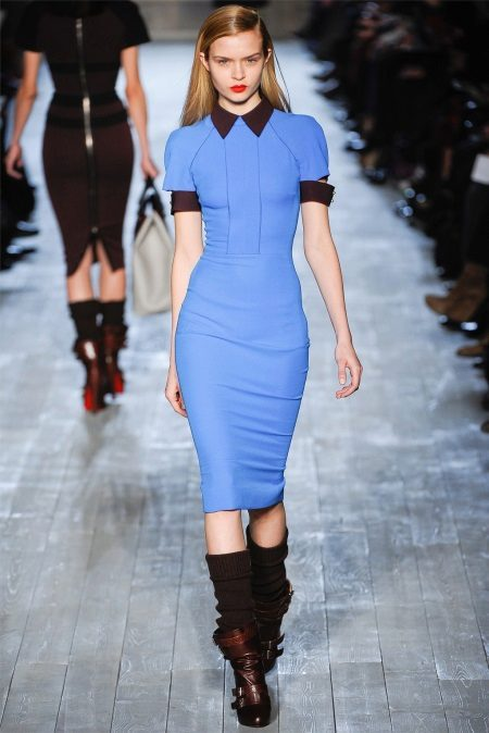 Shoes to a blue box dress