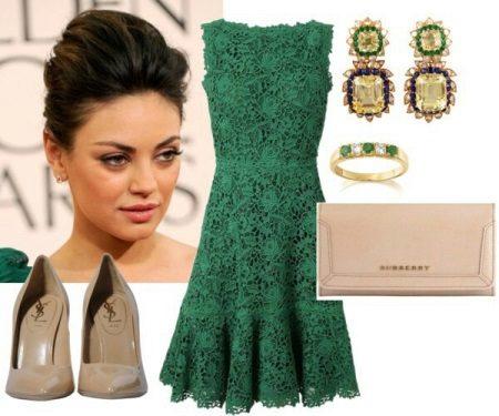 jóias de ouro para vestido verde