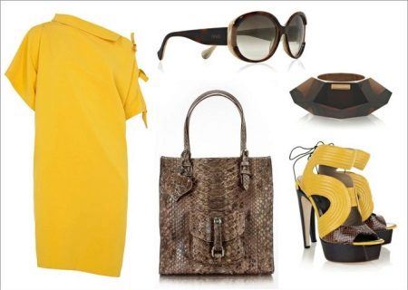 snake-print yellow dress and accessories