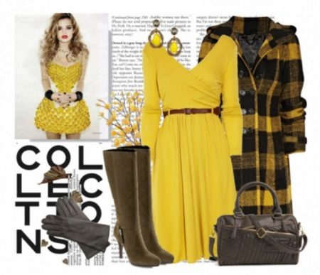 Brown accessories to the yellow dress