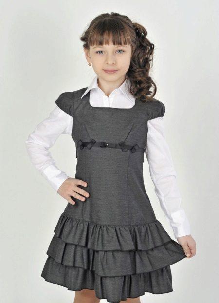 Vestido de escola para meninas com asas de mangas
