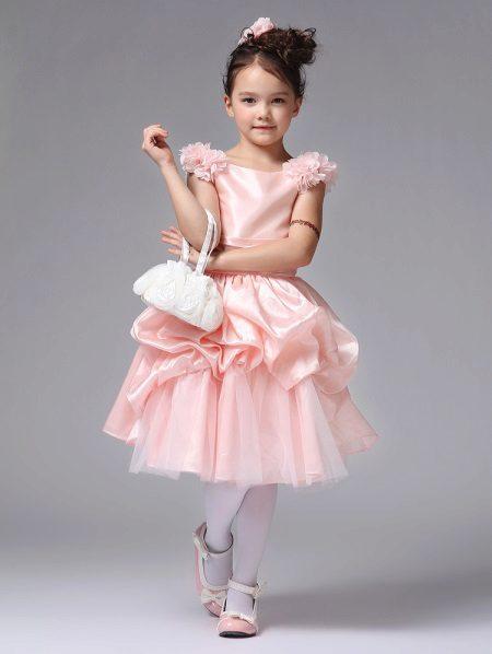 Vestido de formatura no jardim de infância rosa curto