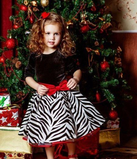 Vestido de Natal para meninas preto e branco