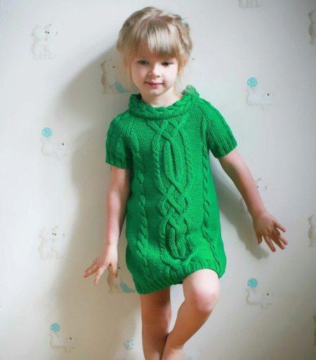 Vestido de malha túnica para meninas 5 anos