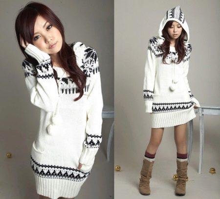 Camisola vestido de inverno para meninas